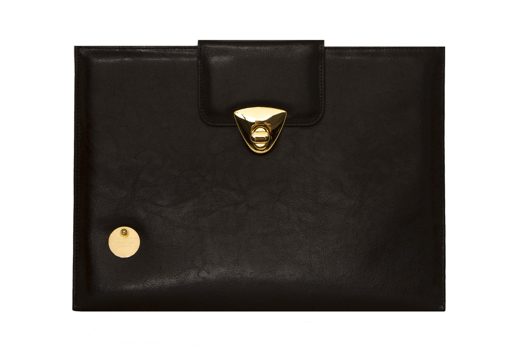 NEW ARRIVAL - MacBook Air Matte Black Leather Chic Golden Case
