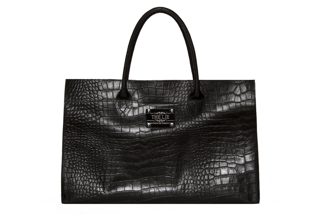 NEW ARRIVAL - Basic Minimalistic Shopper Matte Black Croc With Silver Plaque