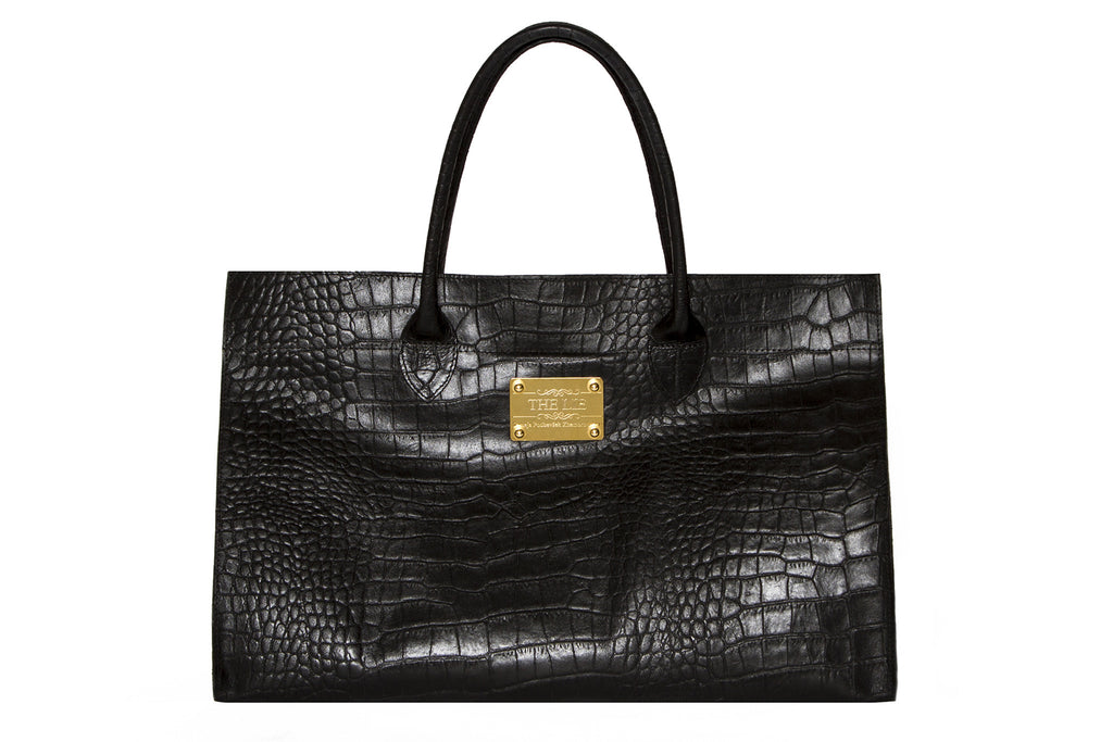 NEW ARRIVAL - Basic Minimalistic Shopper Matte Black Croc With Golden Plaque