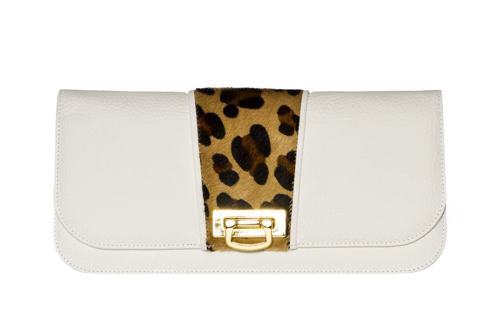 NEW ARRIVAL -  Small Clutch Snow White & Brown Leopard Collision