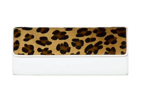 NEW ARRIVAL - Snow White & Brown Leopard Treasure Clutch