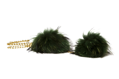 NEW ARRIVAL - Double Green Fur Pom Pom Golden Chained Scarf