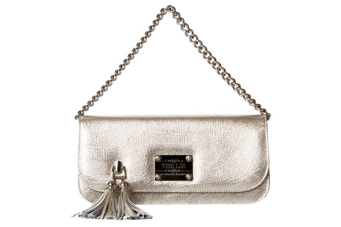 Small Clutch Champagne Silver With Silver Chain