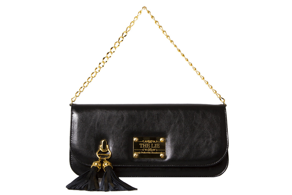 Small Clutch Matte Black With Golden Chain
