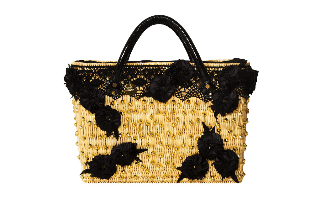 Summer Beauty Gold Studded Black Rose Straw Bag
