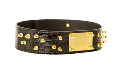 Studded Black Croco Waist Belt