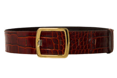 NEW ARRIVAL - Cognac Brown Babydoll Wide Croco Belt