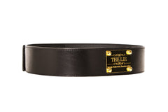 Classic Black Waist Belt Golden Plaque