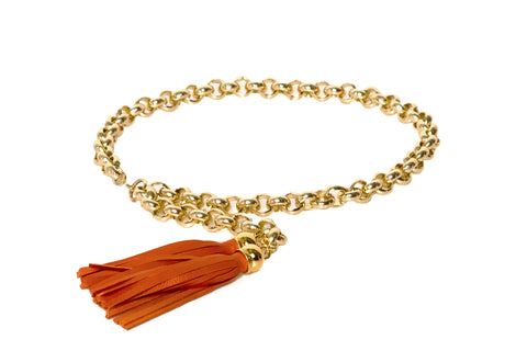 Orange Tassel Chain Belt