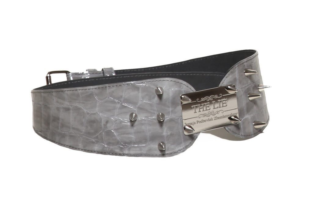 Studded Silver Croco Heart Belt