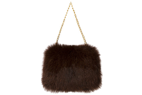 NEW ARRIVAL - Luxurious Choco Brown Polar Fox Hand Muff