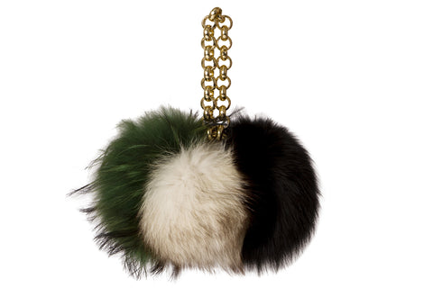 NEW ARRIVAL - Fur Pom Pom Trio Chunky Chain Charm Bag