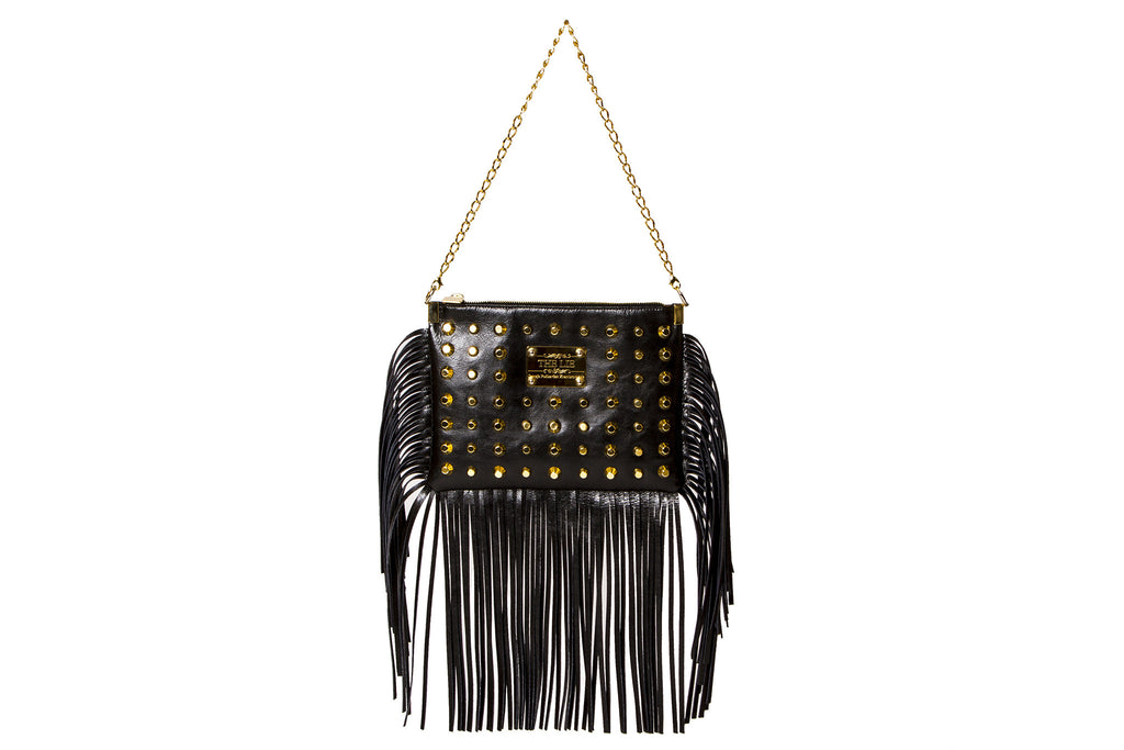 NEW ARRIVAL - Sexy Fringed Drama Shoulder & Cross Body Bag Matte Black Golden Combo