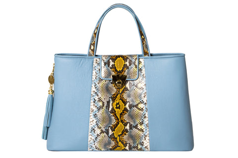 NEW ARRIVAL - Trapezoid Big Baby Blue & Python Jungle Tote