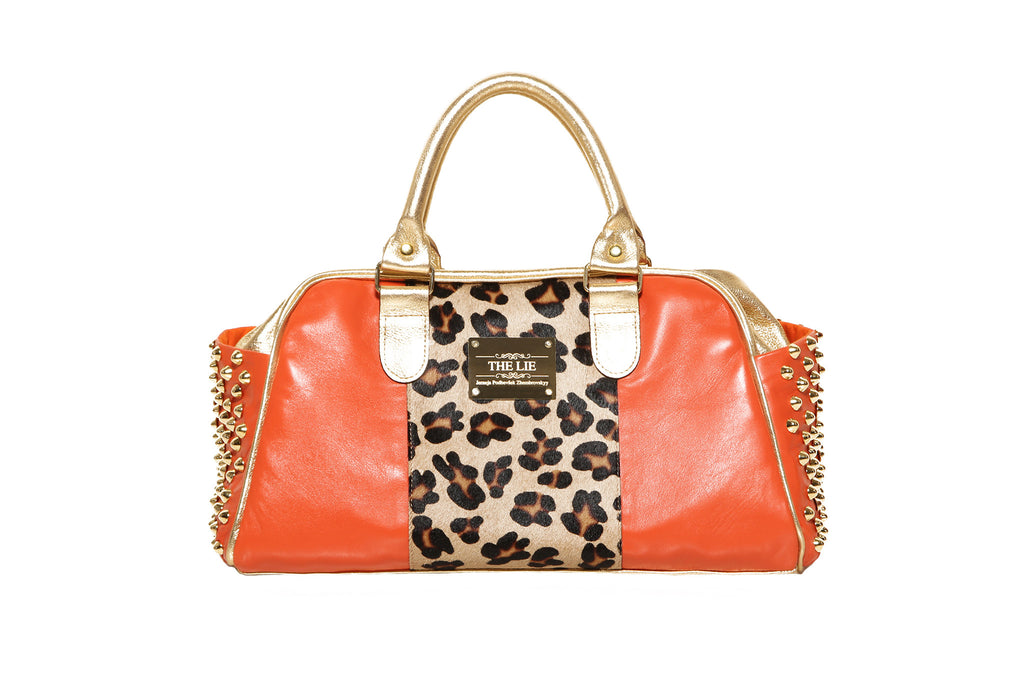 Big Orange Leopard Bag