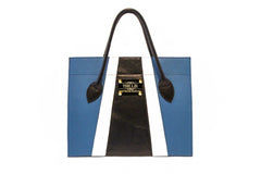 NEW ARRIVAL - Color Blocking Minimalistic Shopper Blue White Black With Golden Plaque