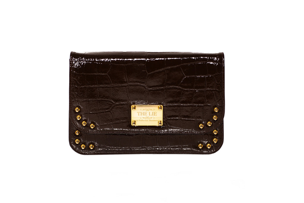 Classic Clutch Chocolate Brown Croco