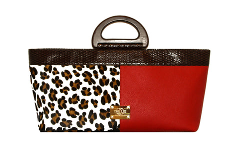 NEW ARRIVAL - Elongated Wodden Handle Aphrodite Leopard Bag Red