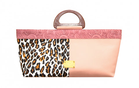 NEW ARRIVAL - Elongated Wodden Handle Aphrodite Leopard Bag Pink Floral