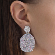 Load image into Gallery viewer, MELTED COIN EARRINGS SILVER