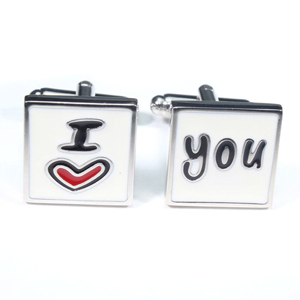 Mancuernillas Metalicas con texto I Love You