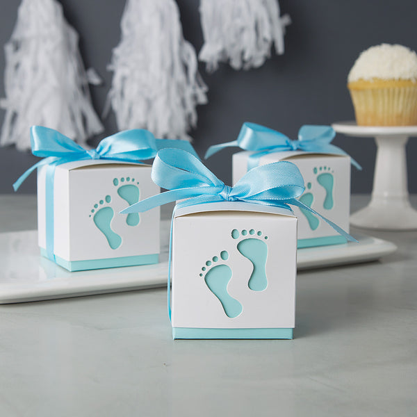 Baby shower favors midnight scentworks baby boy shower favors cute blue baby footprint negle Images
