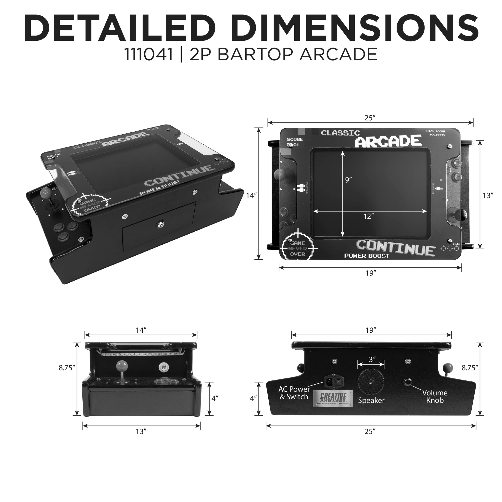2P 412 Games Mini Tabletop Arcade Dimension