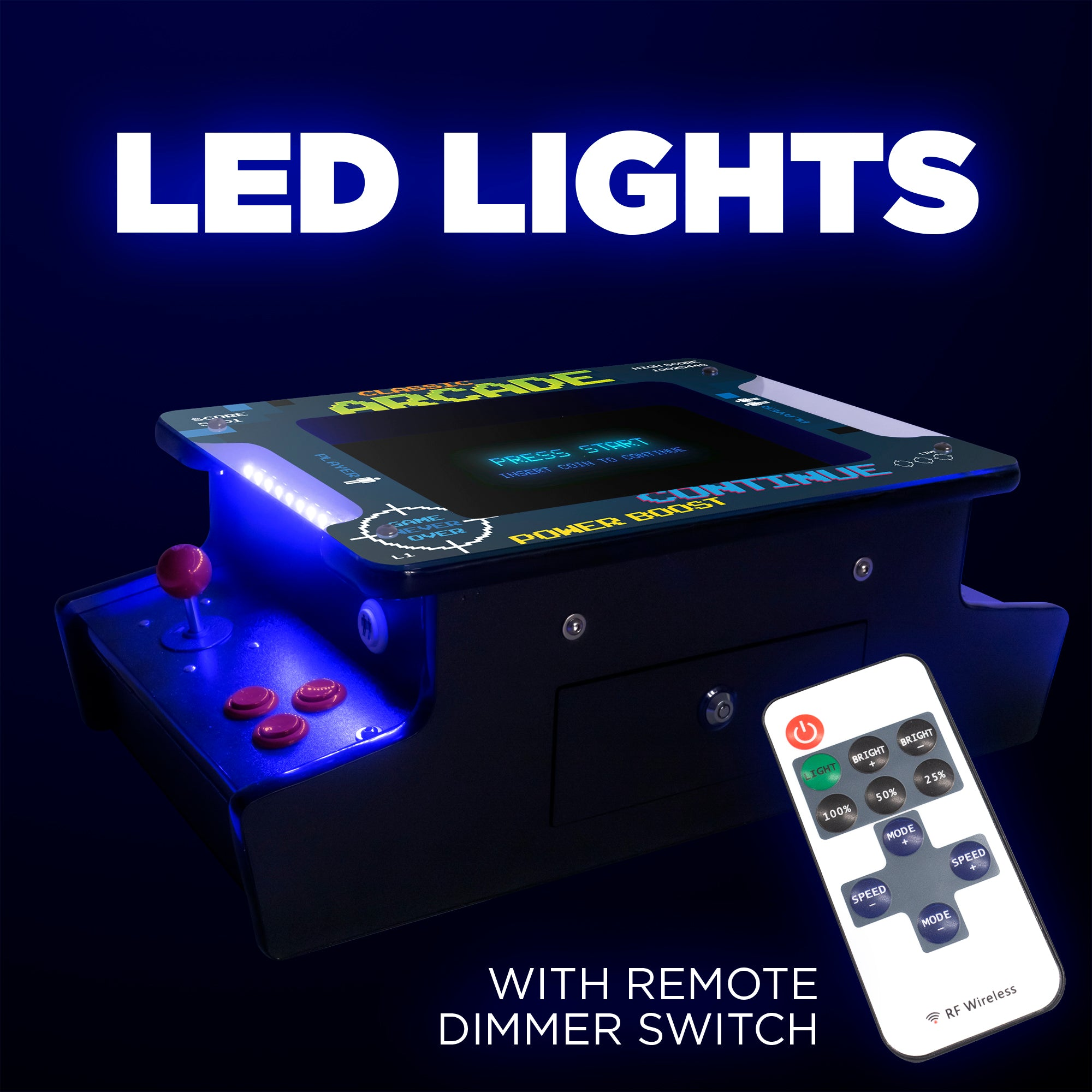 2P 412 Games Mini Tabletop Arcade LED Lights and Remote Dimmer