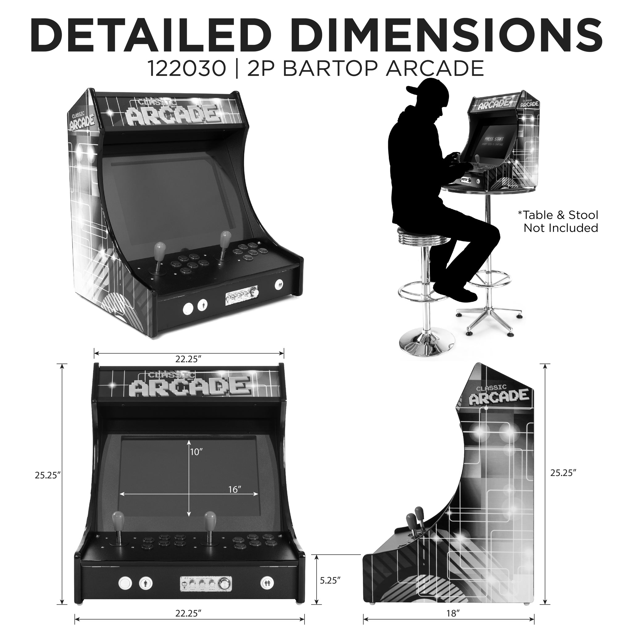 2P 3000 Games Mini Upright Arcade Dimensions