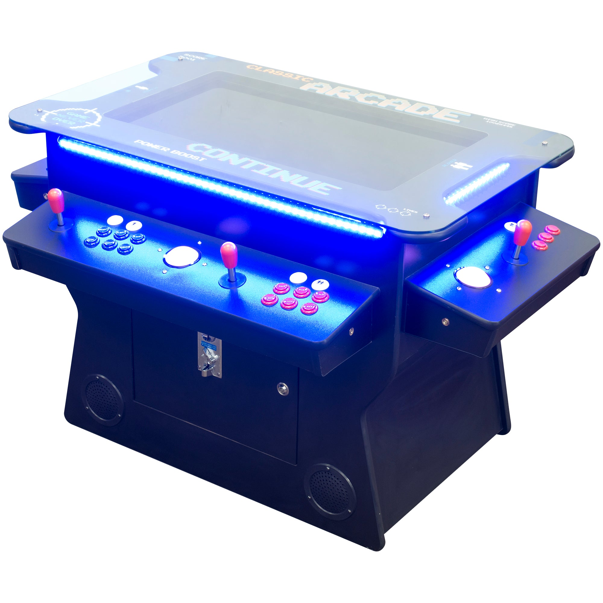 "2 Player 3 Sided 32"" Tilt Screen Cocktail Arcade with LED Lights and Stools"