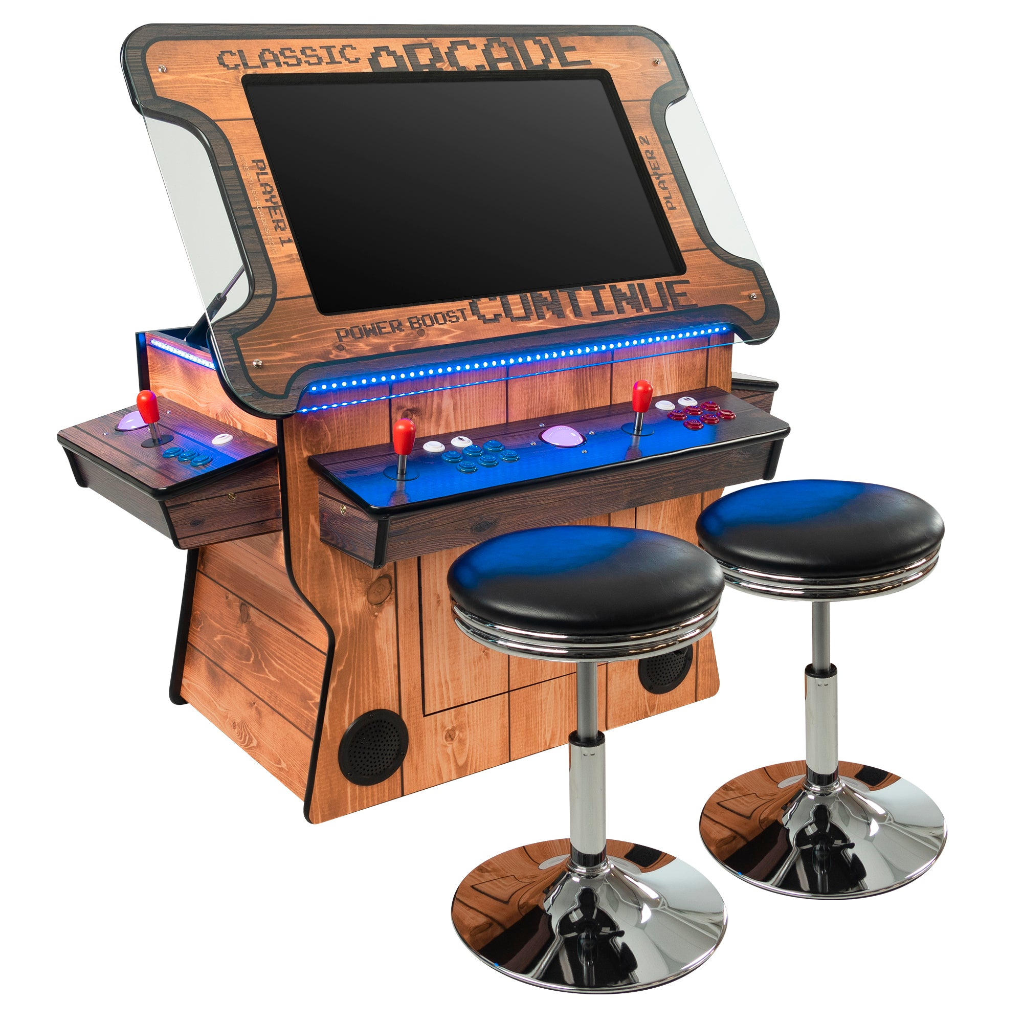 "2 Player 3 Sided Tilt-Screen Cocktail Arcade with Trackball | Woodgrain Edition | 3500-4500 Games | 32"" LCD Monitor 