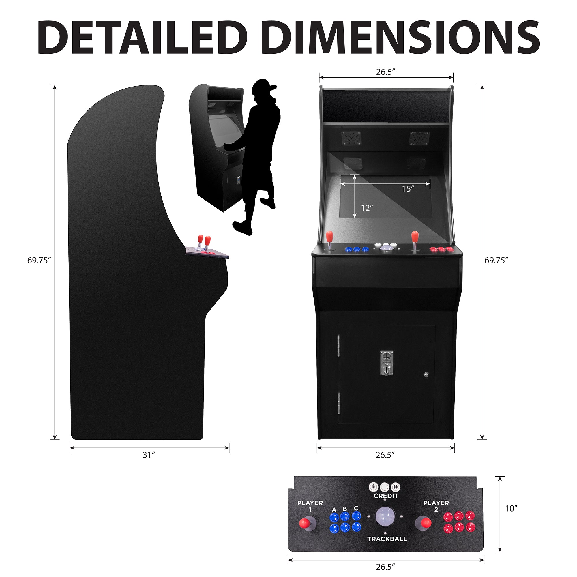 152135 2 Player 3500 Stand Up Arcade Dimensions