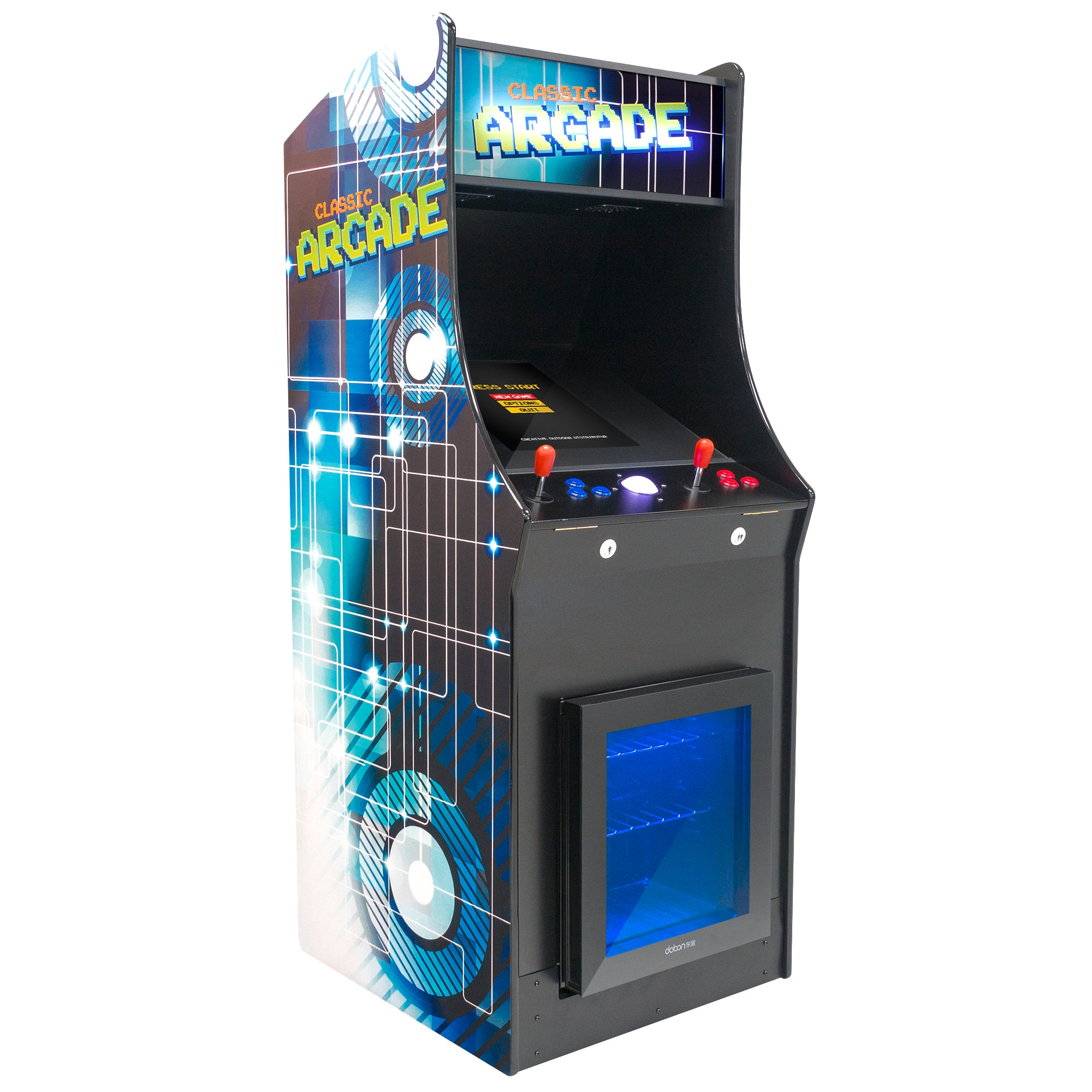 2 Player Stand Up FULL SIZE Classic Video Game Arcade with Built-in Refrigerator
