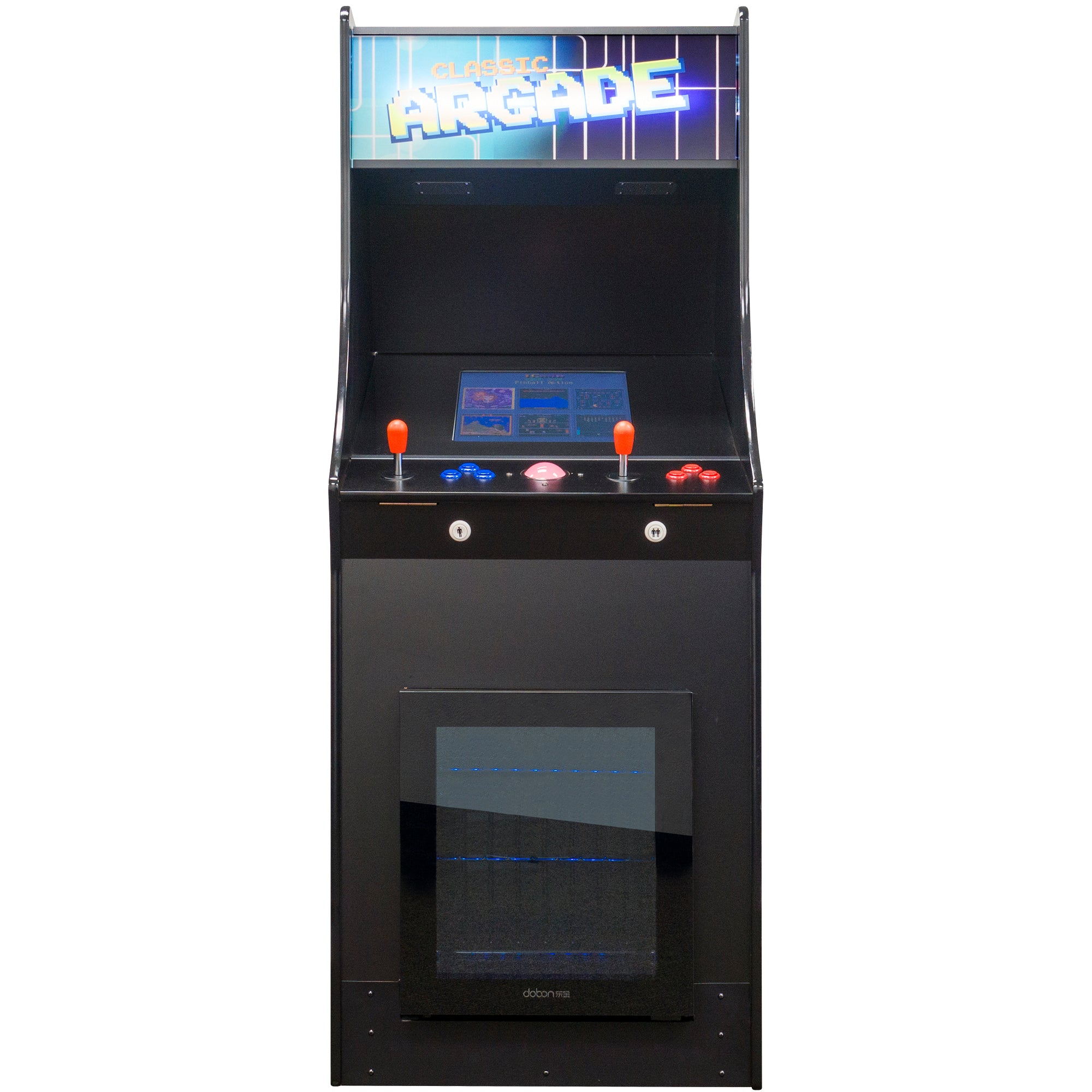 2 Player Stand Up FULL SIZE Classic Video Game Arcade with Built-in Refrigerator Front