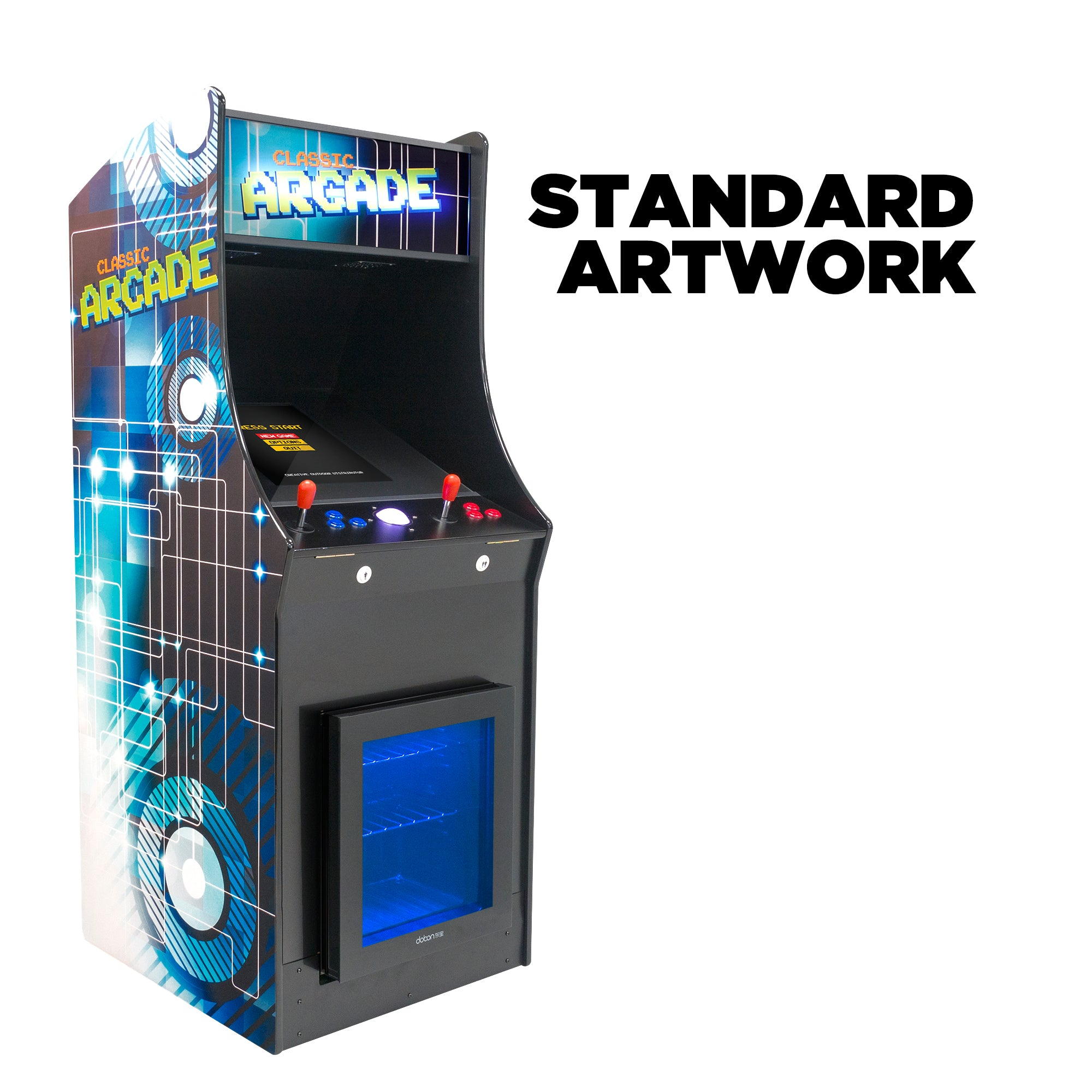 2 Player Stand Up FULL SIZE | 60-4500 Games | Classic Video Game Arcade with Built in Refrigerator | Trackball | Stools Included