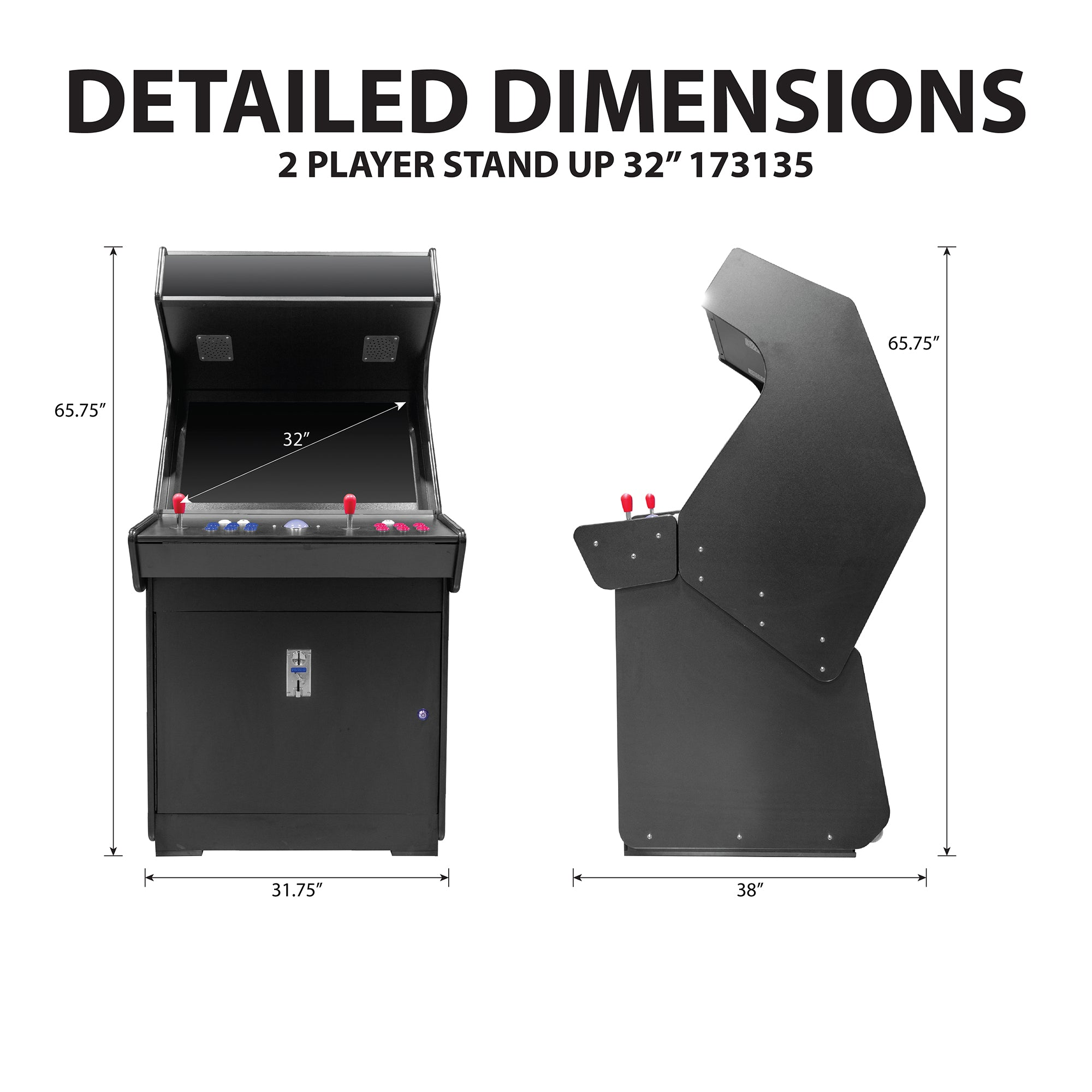 "2 Player Stand Up FULL SIZE 32"" 3500 Classic Video Game Arcade Dimensions"