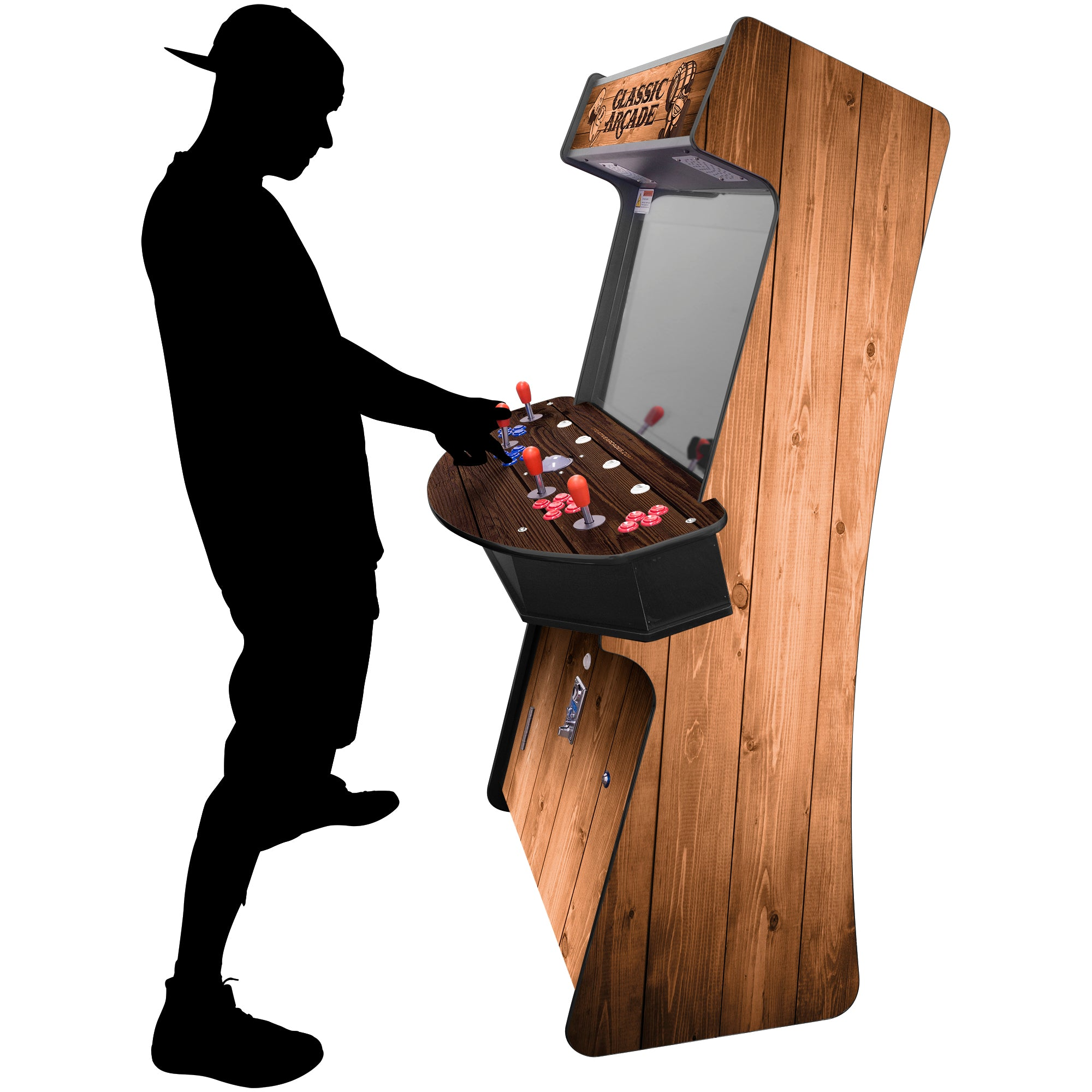 "4 Player Slim Stand Up Arcade with Trackball | Woodgrain Edition | 3500-4500 Classic Games | 32"" LCD Monitor 