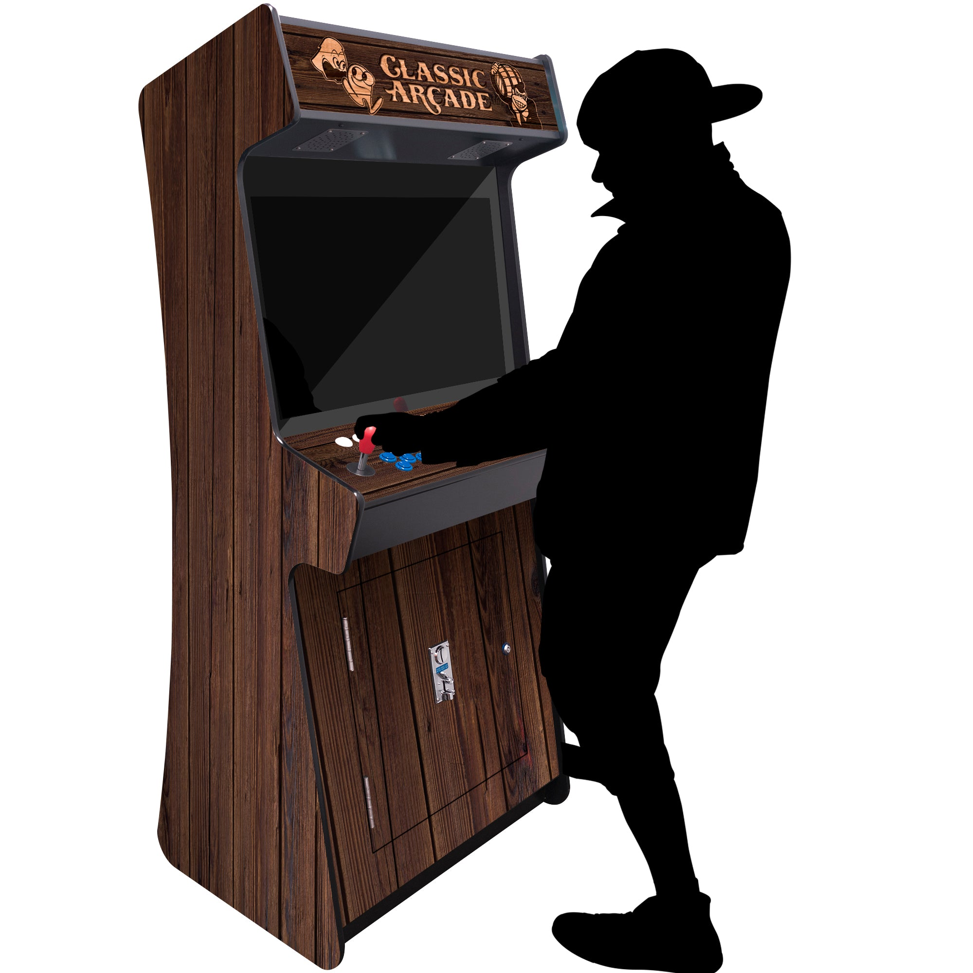 "2 Player Stand Up SLIM | 3500-4500 Games | WOODGRAIN | 32"" Classic Video Game Arcade 