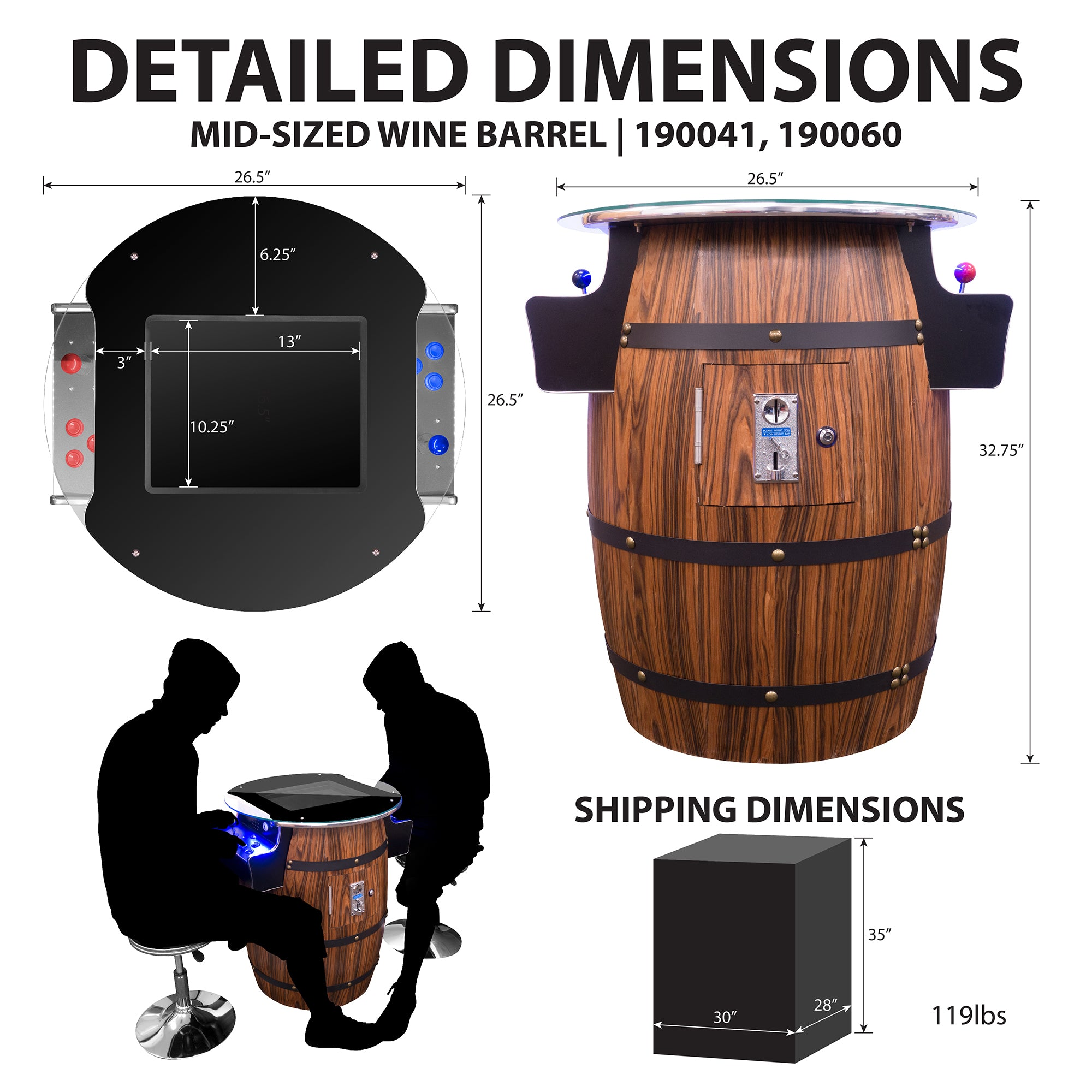 2 Player Mid-Size Wine Barrel Arcade Dimensions