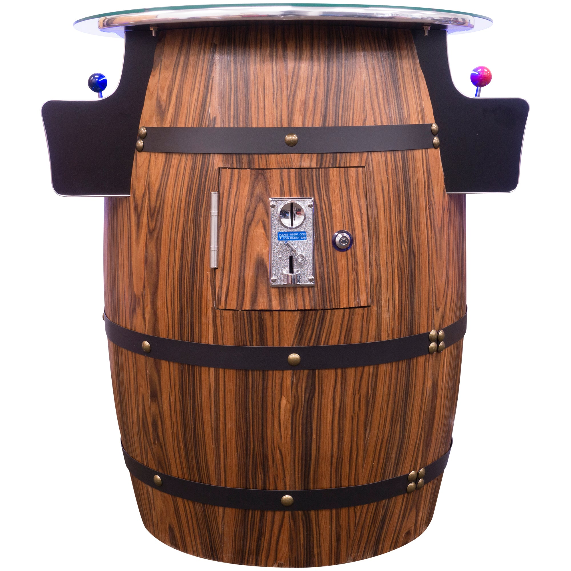 2 Player Mid-Size Wine Barrel Arcade Side View