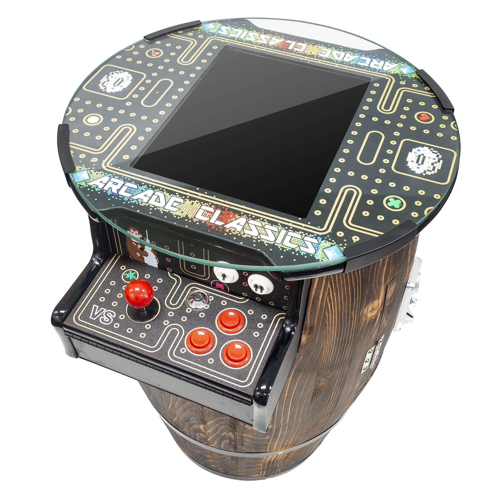 2 Player Short Wine Barrel Cocktail Arcade Top View