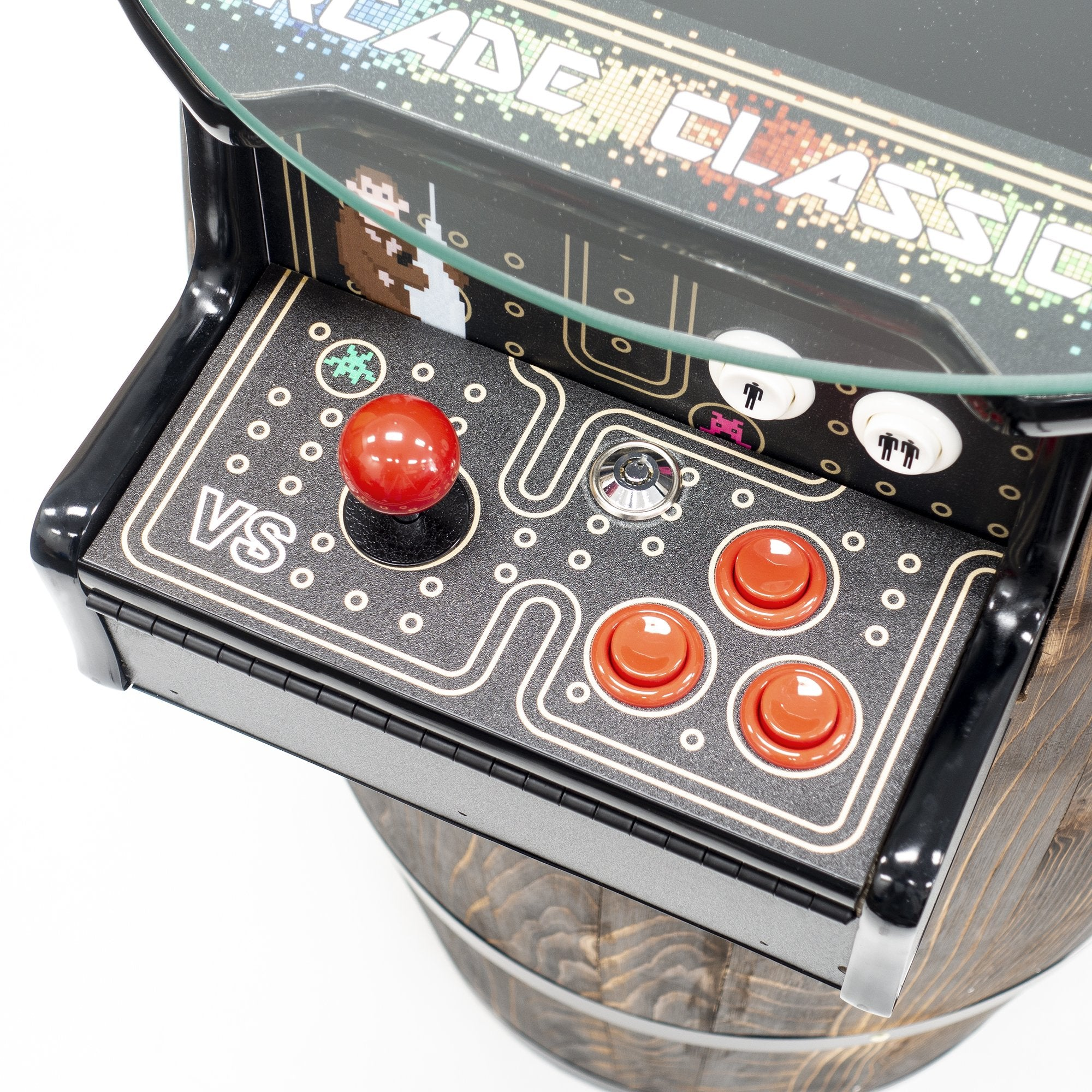 2 Player Short Wine Barrel Cocktail Arcade Controls