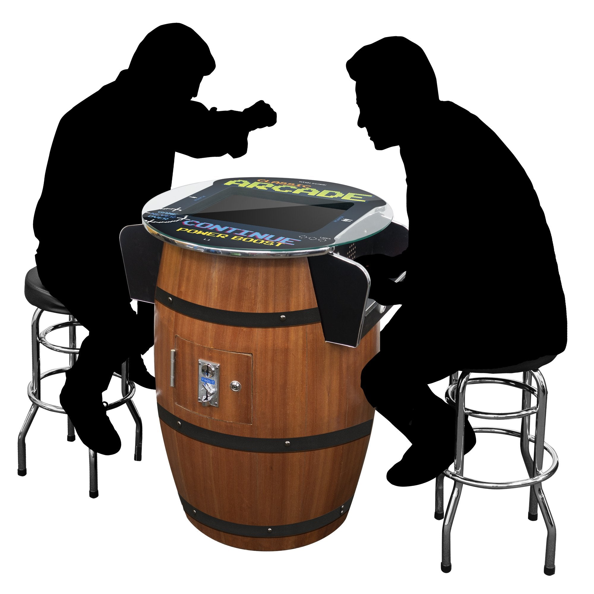 2 Player Wine Barrel Cocktail Arcade with Stools