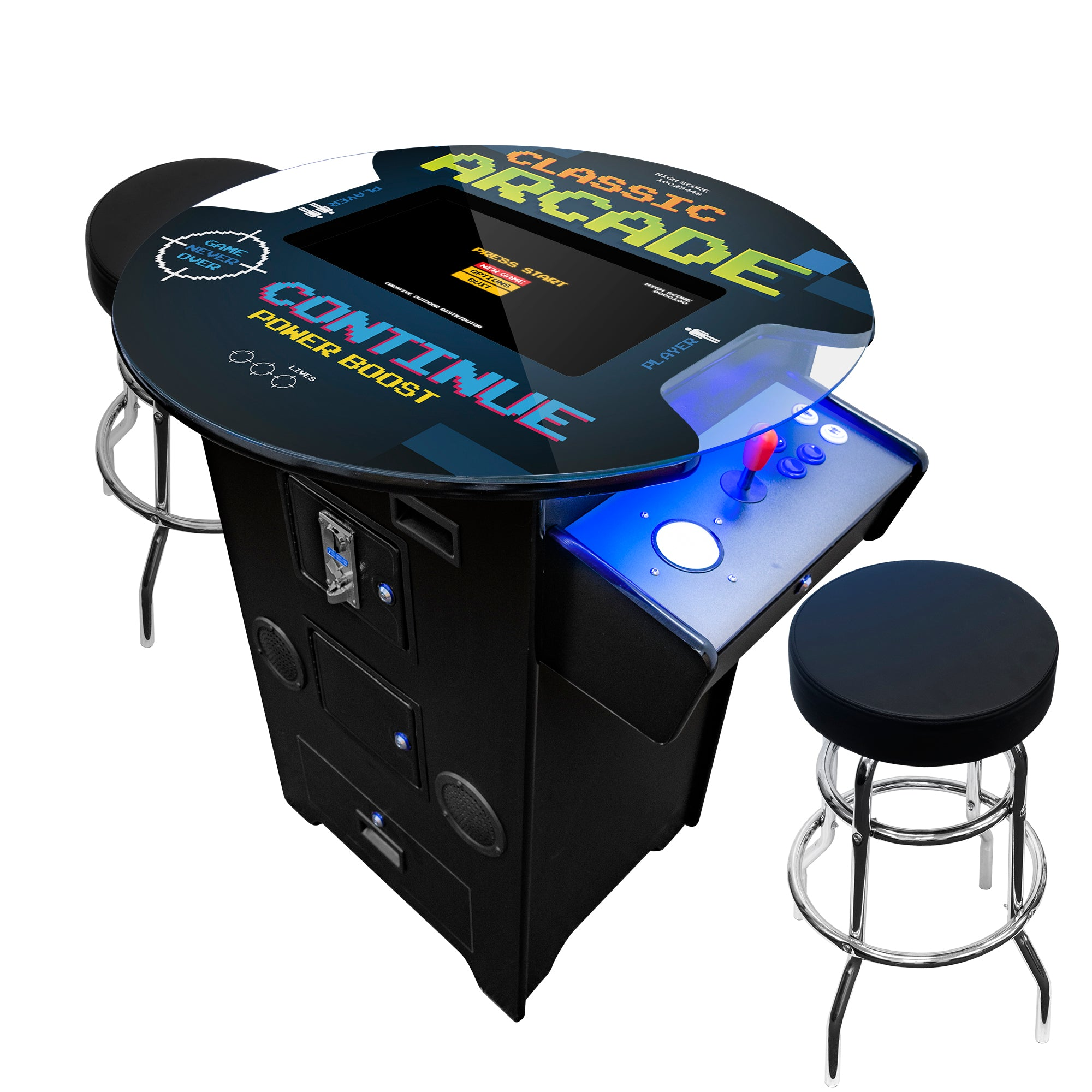 "2 Player Tall Pub Table Arcade with Trackball | 60-412 Games | 22"" LCD Monitor 