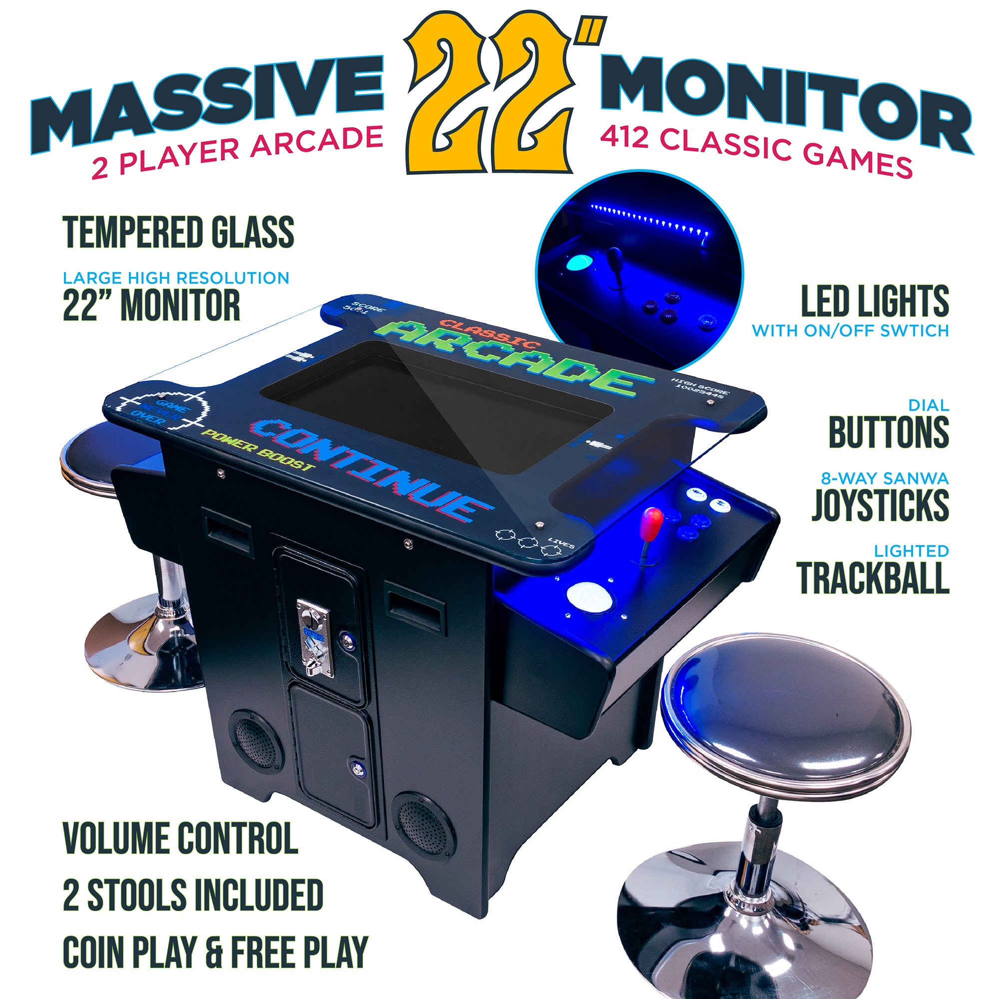 "2 Player 22"" Screen 412 Games Cocktail Arcade with Stools and Trackball"