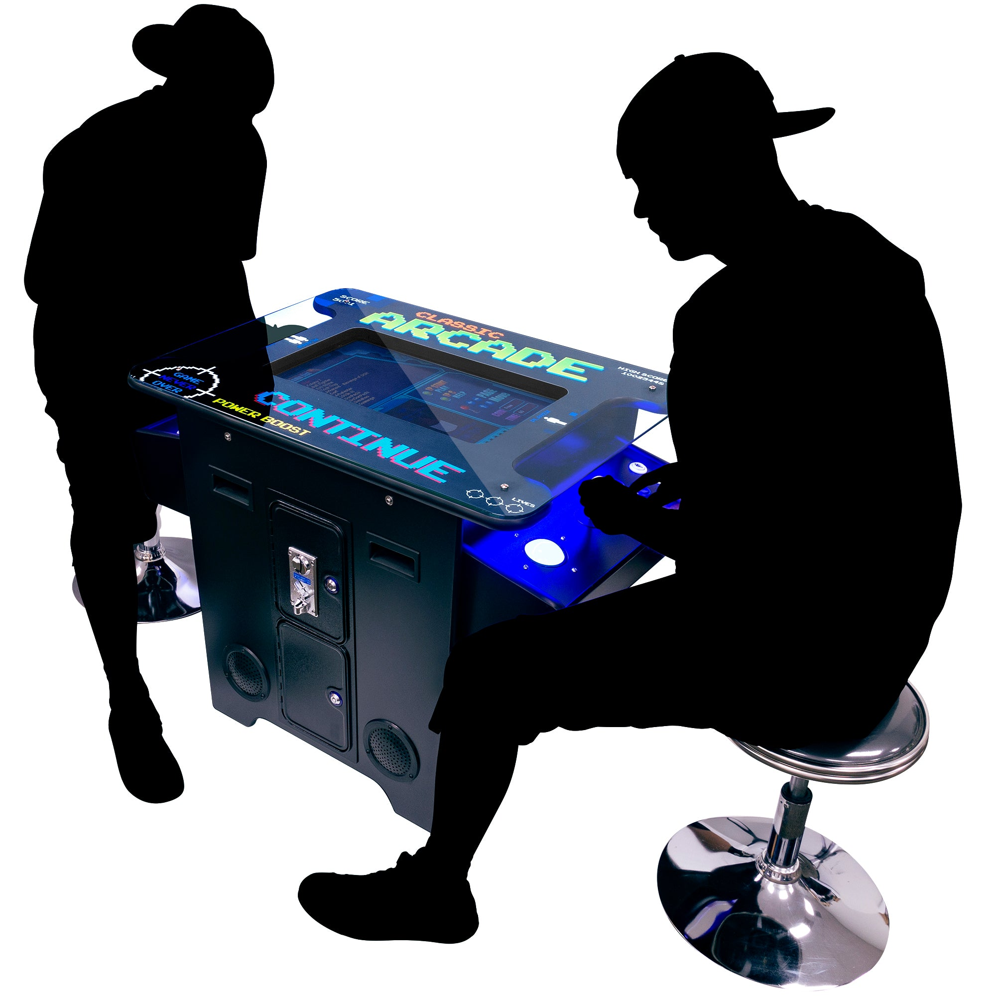 "2 Player 22"" Screen 412 Games Cocktail Arcade with Stools and Trackball Lifestyle"