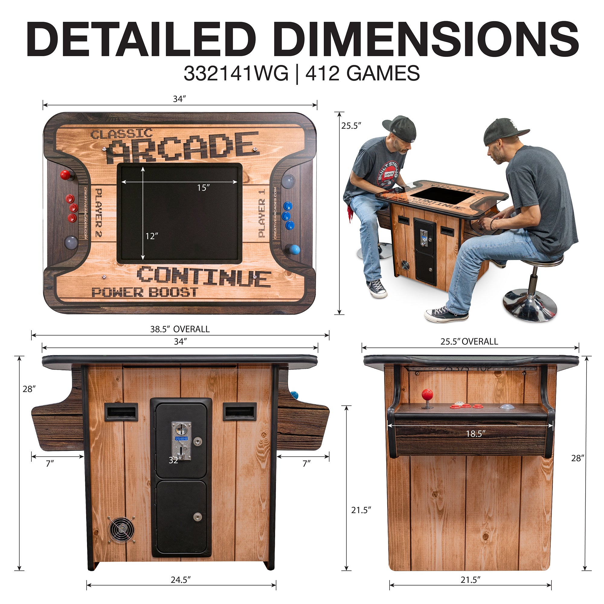 "2 Player Wood Grain | Cocktail Arcade | 19"" LED Monitor 