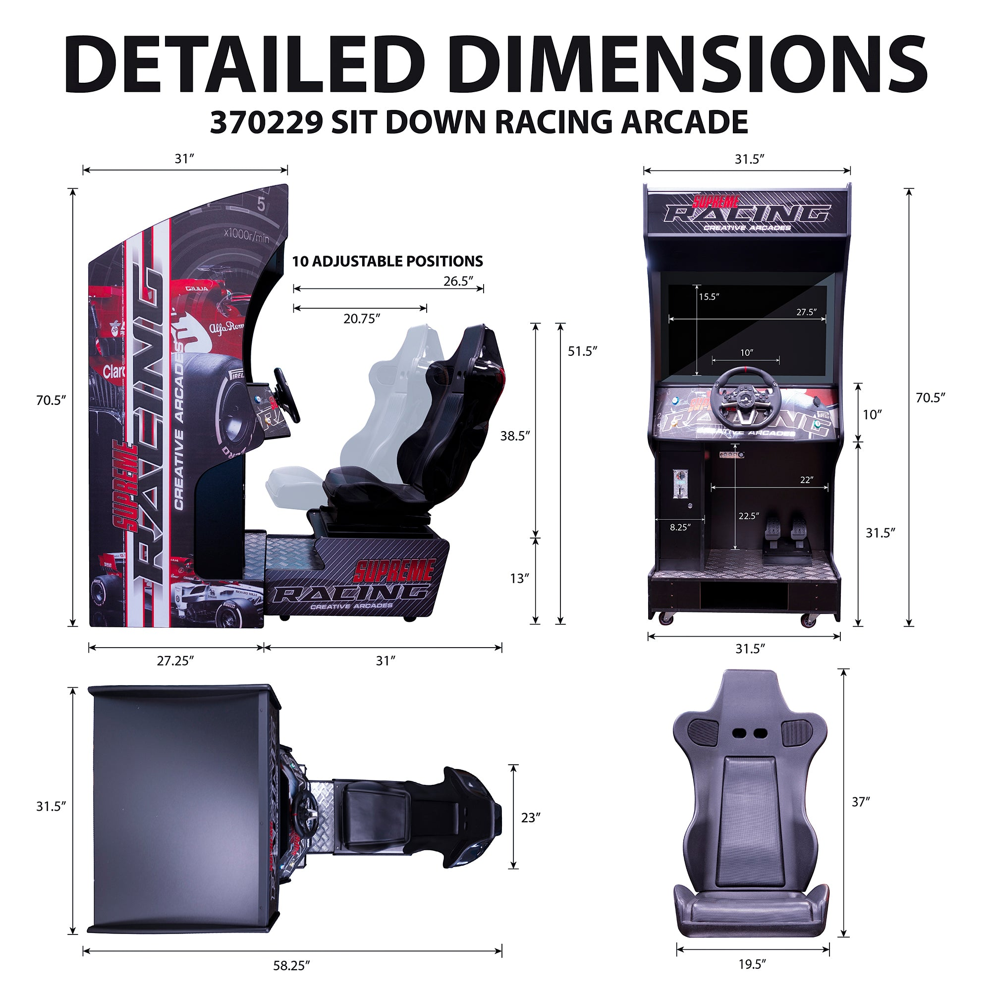 370229 Racing Arcade Machine Dimensions