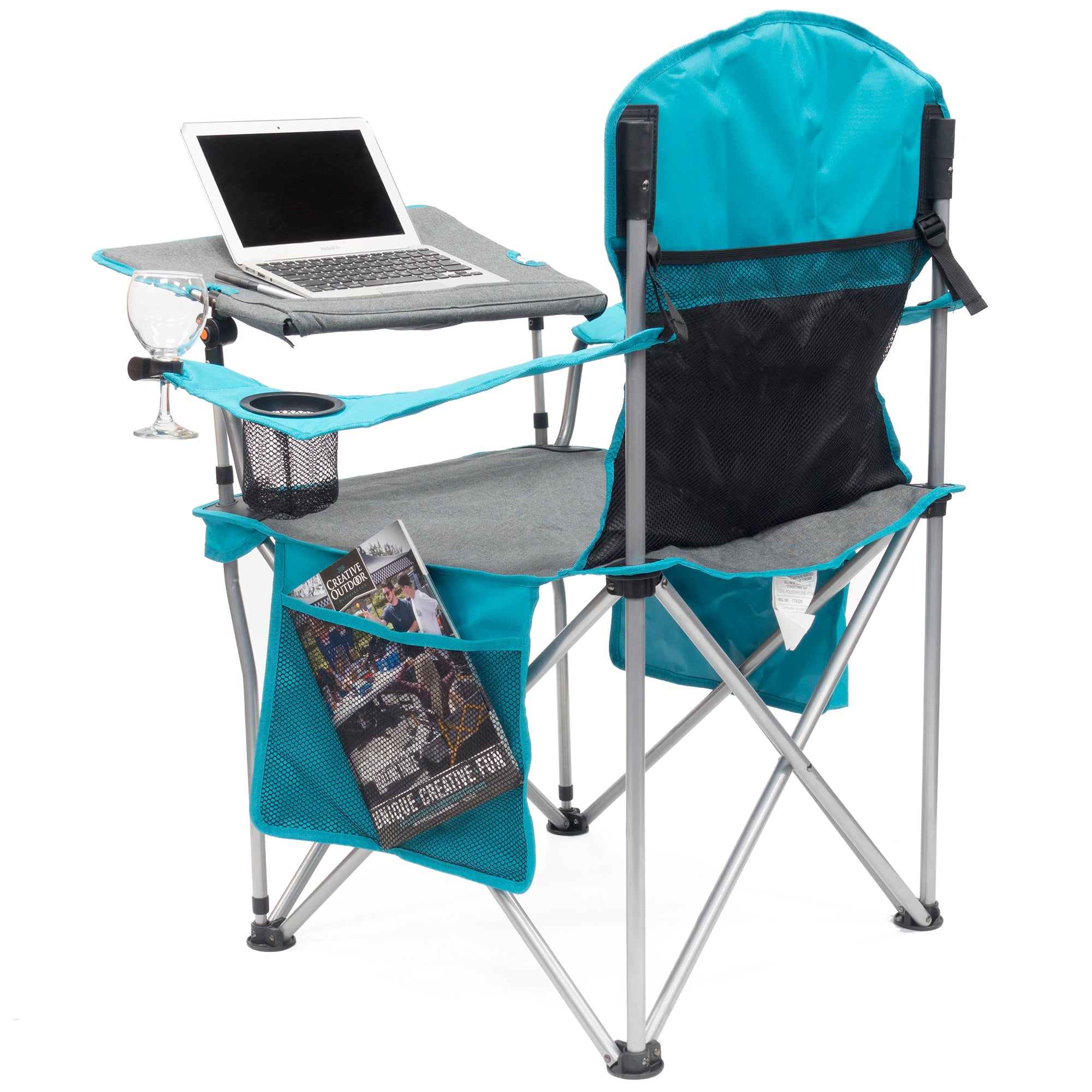 iChair Folding Wine Chair with Adjustable Tilt Table - Teal/Gray