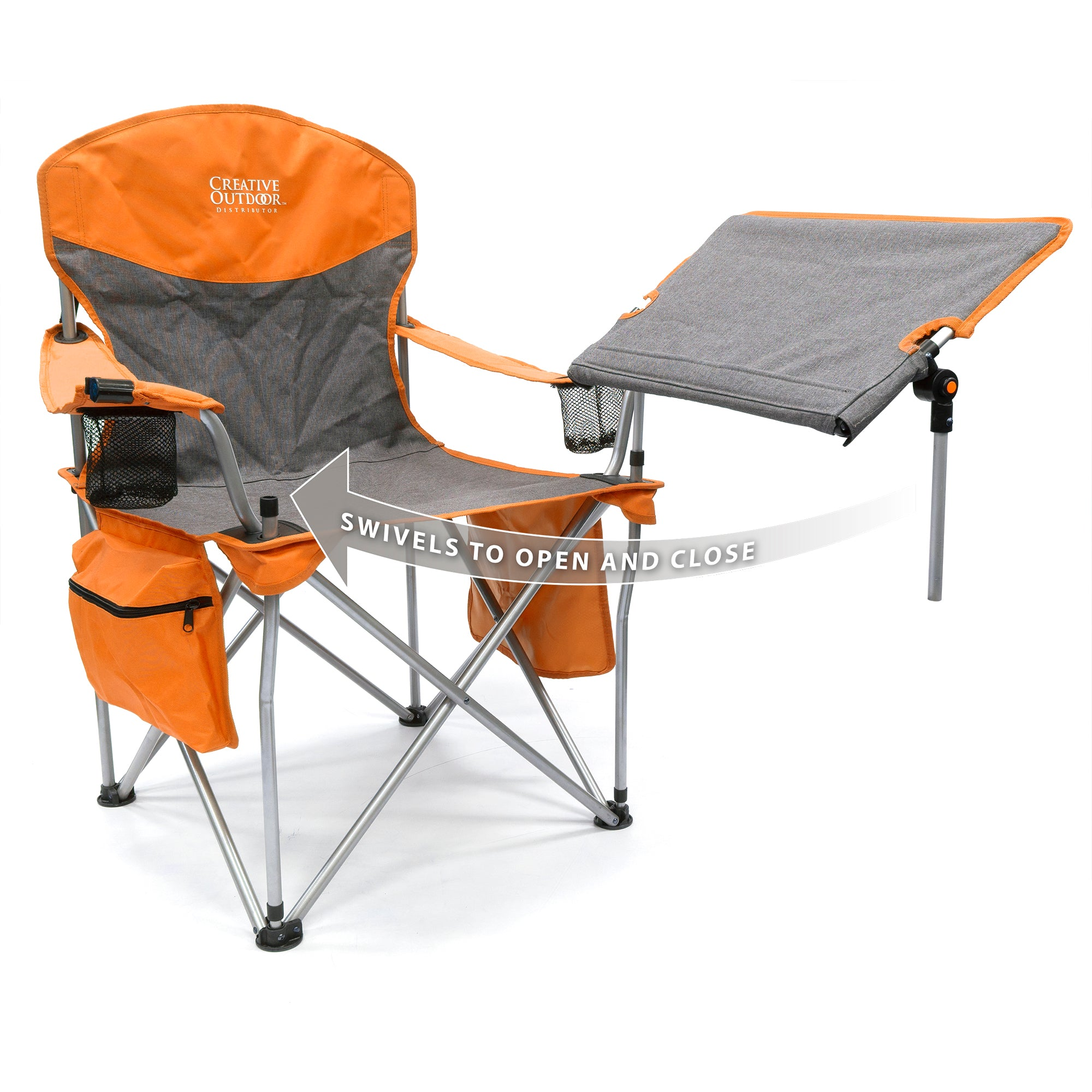 iChair Folding Wine Chair with Adjustable Tilt Table - Orange/Gray